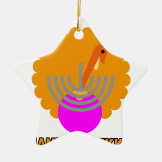 Festive 'Thanksgivukkah' Tshirts K.png Double-Sided Star Ceramic Christmas Ornament