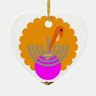 Festive 'Thanksgivukkah' Tshirts K.png Double-Sided Heart Ceramic Christmas Ornament