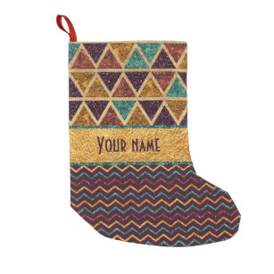 festive triangles chevrons faux glitter gold foil small christmas stocking - Modern Christmas Stockings