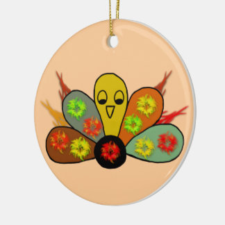 Festive Turkey Ceramic Ornament