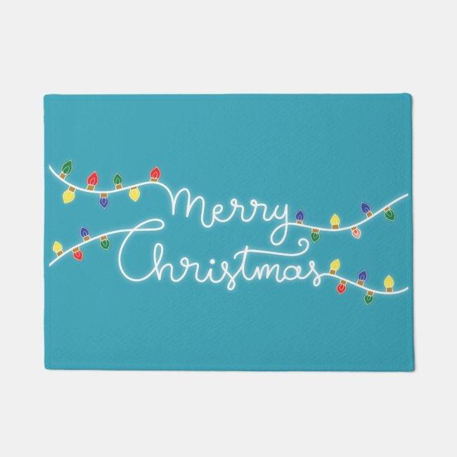 Festive Turquoise Merry Christmas Door Mat