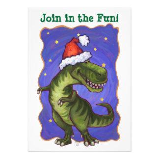 Festive Tyrannosaurus Dino Christmas Custom Invitation