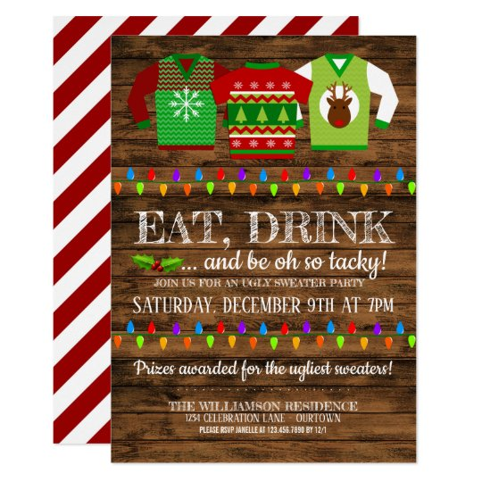 Ugly Christmas Sweater Party Invite.Festive Ugly Christmas Sweater Party Invitation