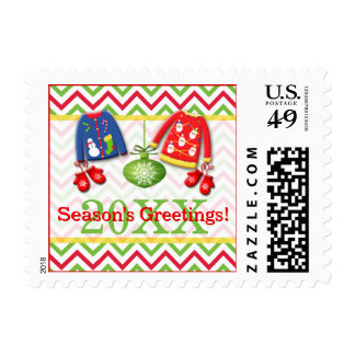 Festive Ugly Christmas Sweater Party Postage
