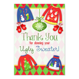 Festive Ugly Christmas Sweater Party Thank You Card