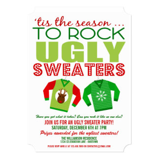 tacky sweater party invitations  announcements  zazzle, Party invitations
