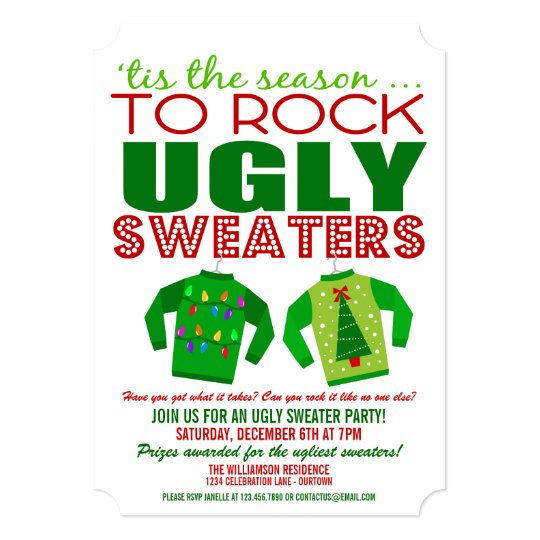 Festive Ugly Christmas Sweaters Party Invitation Zazzlecom