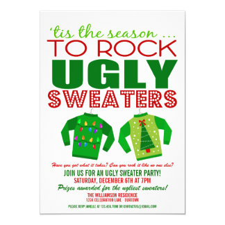 Festive Ugly Christmas Sweaters Party Custom Invites
