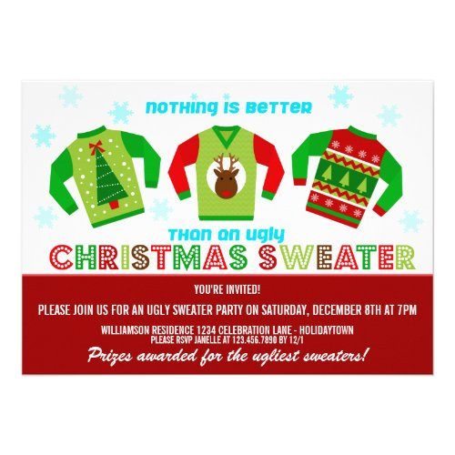 ugly christmas sweaters party invites - Ugly Sweater Party Invitation