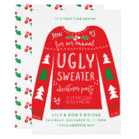 Festive Ugly Sweater Christmas Party Invitations