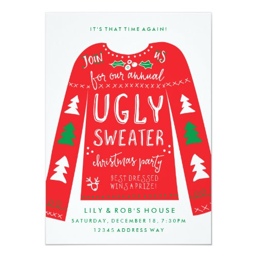 Festive Ugly Sweater Christmas Invitation