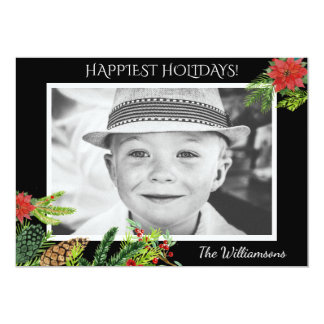 Festive Vintage Christmas Botanicals Holiday Photo Card