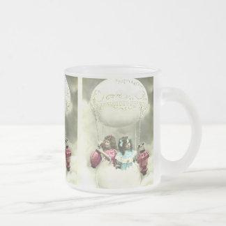 Festive vintage fantasy easter motives frosted glass coffee mug