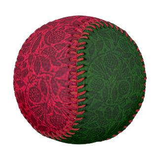 Festive Vintage Floral Leaf Red and Green Baseball