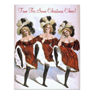 Festive Vintage Lady Dancers Christmas Cheer Party Card at Zazzle