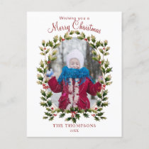 Festive Vintage Style Holly Photo Holiday Postcard