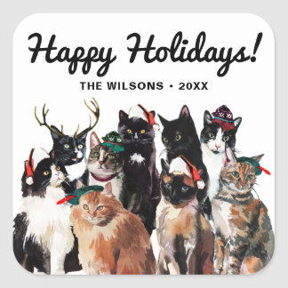 Festive Watercolor Cats Clowder Happy Holidays Square Sticker