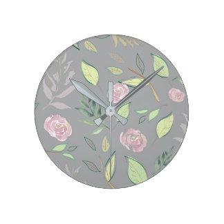 Festive Watercolor Flowers 2 Round Clock