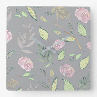 Festive Watercolor Flowers 2 Square Wall Clock
