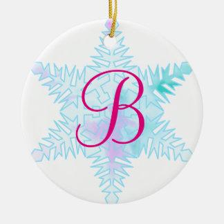 Festive watercolor Snow flake monogram Ceramic Ornament