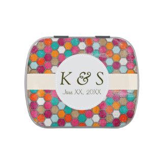 Festive Wedding Custom Monogram Filled Candy Tin