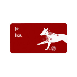Festive White and Red Dog Gift Tag Address Label