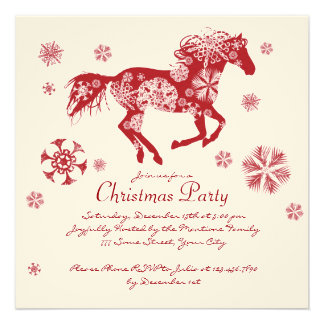 Festive White and Red Horse Christmas Party Invitations