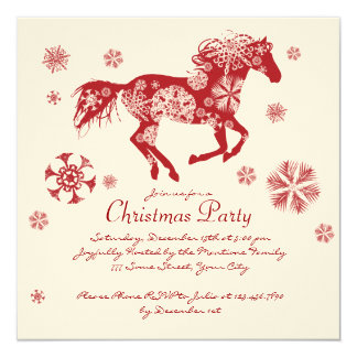 Festive White and Red Horse Christmas Party 5.25x5.25 Square Paper Invitation Card