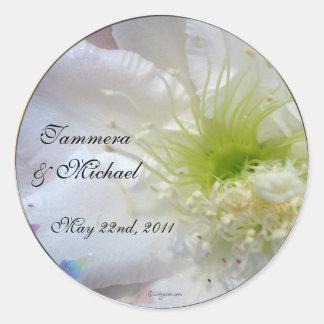 Festive White Flower Wedding Custom Envelope Seals Classic Round Sticker