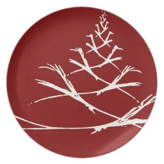 Festive white on red fractal melamine plate