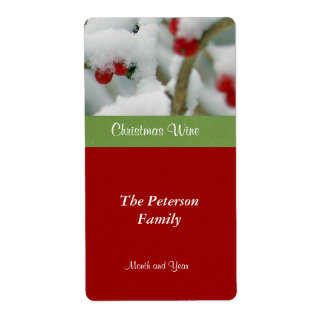Festive Wine Label-Red Berries in Snow Shipping Label