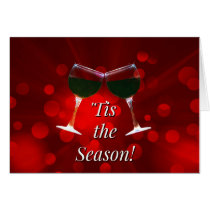 "Festive Wine Themed ""Tis the Season Holiday Cards"