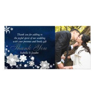 Festive Winter Floral Navy Blue Wedding Thank You Photo Card