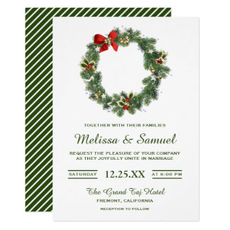 Festive Winter Holiday Christmas Wreath Wedding Invitation