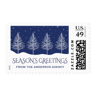 Festive Winter Holiday Trees Business Postage
