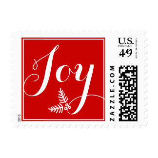Festive Winter Joy Red   White Monogram Postage Stamp