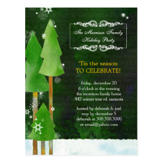 Festive Winter Trees Rustic Green Holiday Party Postcard