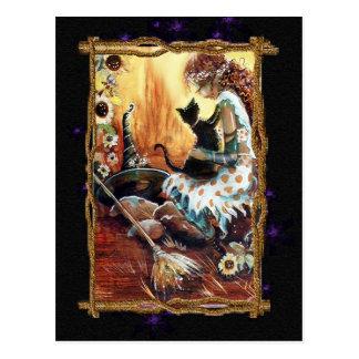 Festive Witch & Cat  Postcard