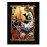 Festive Witch & Cat  Postcard Postcards