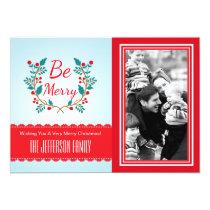 Festive Wreath Light Blue and Red Christmas Photo Card