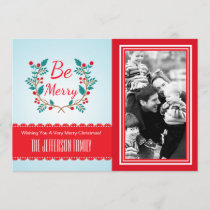 Festive Wreath Light Blue and Red Christmas Photo Holiday Card