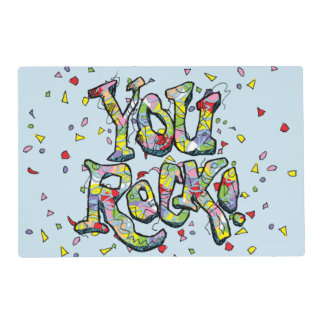 "Festive ""You Rock!"" Lettering Placemat"