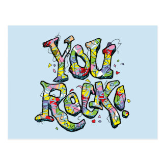 "Festive ""You Rock!"" Lettering Postcard"