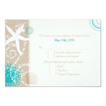 Beach Themed Festively Chic Beach Wedding RSVP (Menu Choice) Card
