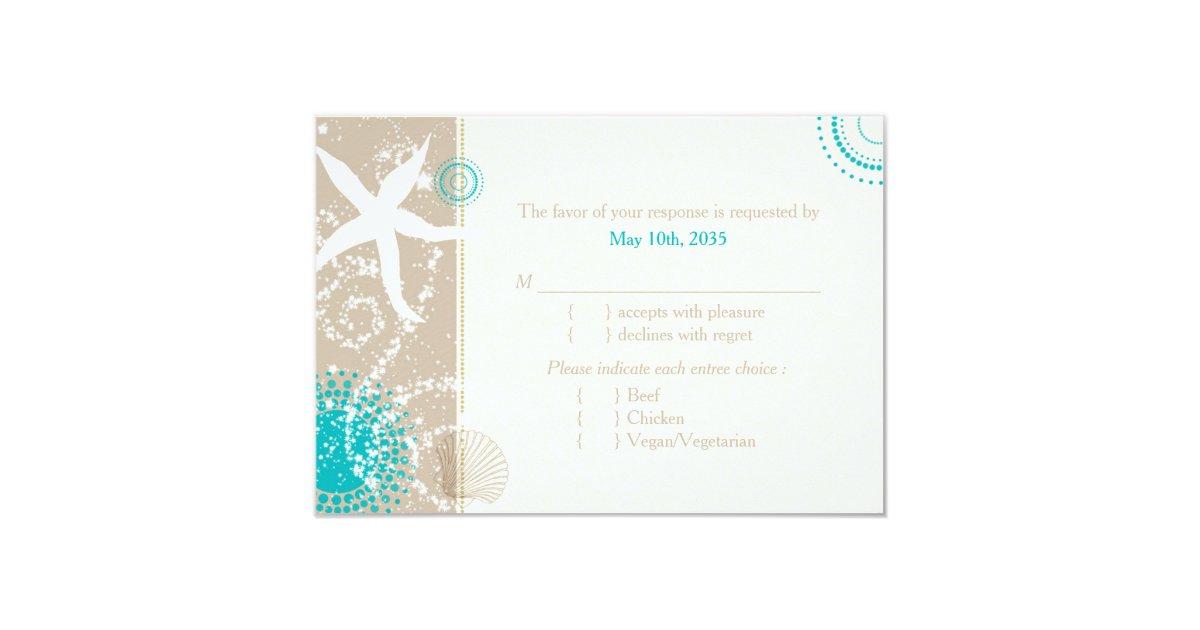 Festively Chic Beach Wedding RSVP Menu Choice Card