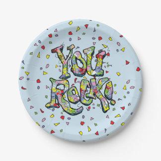 """Festivo """"usted roca!"""" Placas de papel de letras Plato De Papel De 7 Pulgadas"""