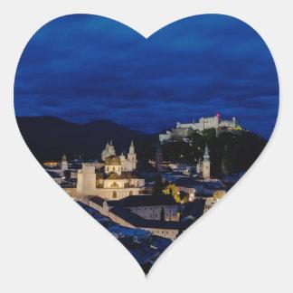 Festung Hohensalzburg Castle at dusk Austria Heart Sticker