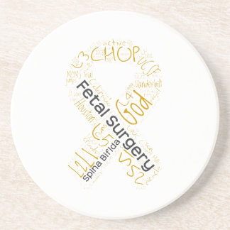 Fetal Surgery Spina Bifida Text Ribbon Coaster