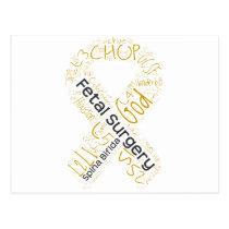 Fetal Surgery Spina Bifida Text Ribbon Postcard