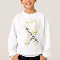 Fetal Surgery Spina Bifida Text Ribbon Sweatshirt